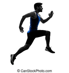 runner sprinter running sprinting athletics man silhouette isola