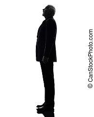 senior business man surprised looking up silhouette