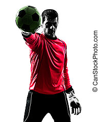 one caucasian soccer player goalkeeper man standing stopping ball with one hand in silhouette isolated white background