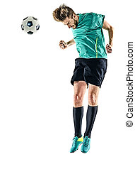 soccer player man heading isolated