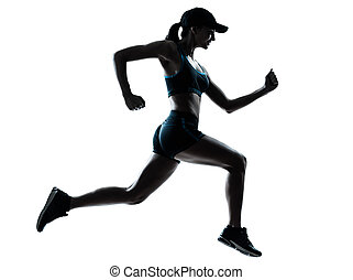 woman runner jogger - one caucasian woman runner jogger in ...