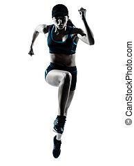 woman runner jogger jumping - one caucasian woman runner...