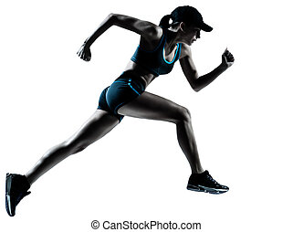 woman runner jogger running - one caucasian woman runner ...