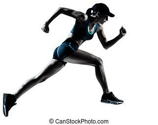 woman runner jogger running - one caucasian woman runner...