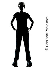 one caucasian young teenager silhouette boy or girl standing hands on hips full length in studio cut out isolated on white background