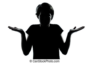 one caucasian young teenager silhouette boy or girl ignorant...