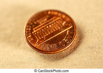 One cent coin of american currency closeup