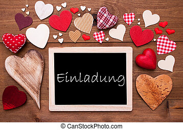 One Chalkbord, Many Red Hearts, Einladung Means Invitation -...