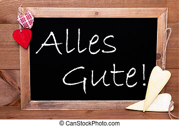 One Chalkbord, Red And Yellow Hearts, Alles Gute Means Congratulations