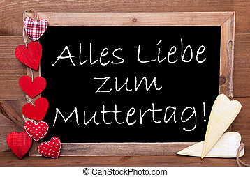 One Chalkbord, Red And Yellow Hearts, Muttertag Means Mothers Day