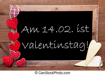 One Chalkbord, Red And Yellow Hearts, Valentinstag Means Valentines Day