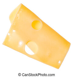 One cheese slice isolated on white background. Top view. Flat lay. Cheese slice in air, without shadow.