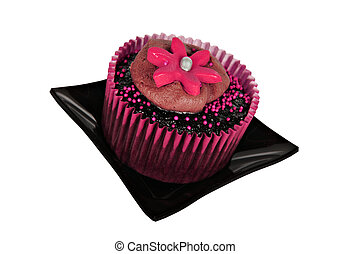 One chocolate cupcake with pink icing