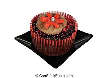 One chocolate cupcake with red icing