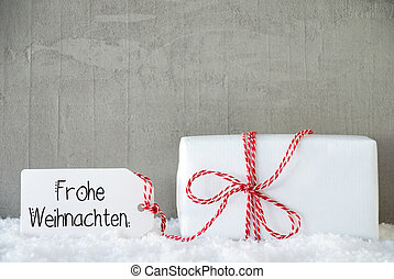 One Christmas Gift, Snow, Cement, Frohe Weihnachten Means Merry Christmas