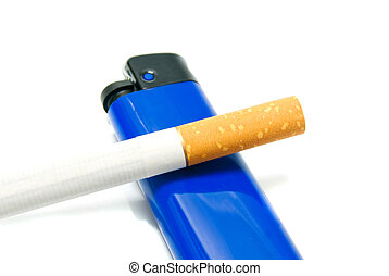 one cigarette and lighter on white