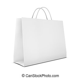 shopping bag - one classic white shopping bag (3d render)