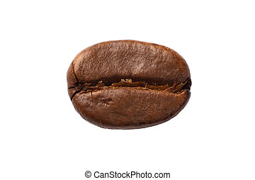 One coffee bean close-up, isolated on white.