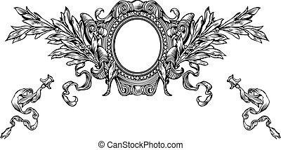 One Color Ornate Heraldry Frame And Stripes