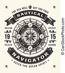 (one, color), ouderwetse , typografie, nautisch, navigator