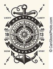 (one, color), vendange, typographie, nautique, voyageur