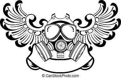 One Color Wings Gas Mask. Vector Illustration.