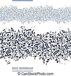 One-colored horizontal music canvas, vector seamless tape...
