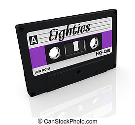 compact cassette - one compact cassette with text: eighties...
