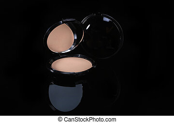 One Compact Pressed Powder on Black Background - Compact ...