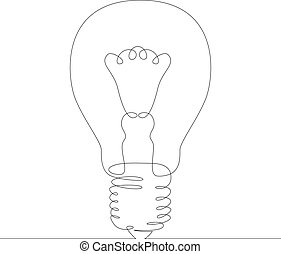 incandescent filament glow lamp - One continuous drawing ...