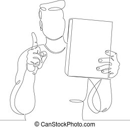 man with a book in his hands. Raised index finger up