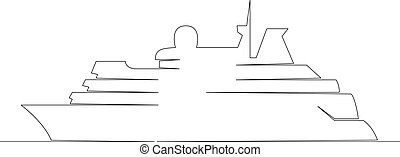 seagoing vessel, boat, ship - One continuous drawing line ...