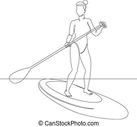 young woman on the board sup with a paddle in hand