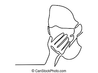 One continuous line drawing medical face mask. Concept of coronavirus.