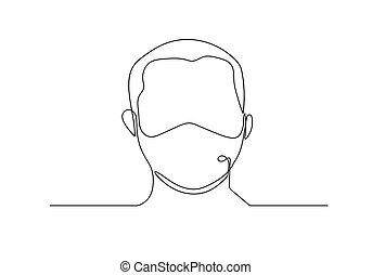 continuous line drawing medical face mask. Concept of coronavirus.