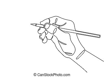 One continuous line drawing of hand drawing line with pencil