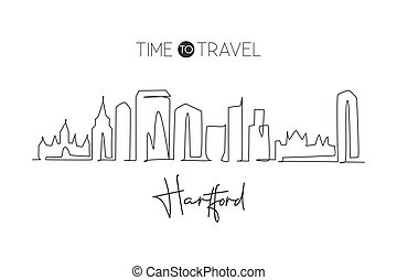 One continuous line drawing of Hartford city skyline, Connecticut. Beautiful landmark. World landscape tourism travel home wall decor poster print. Stylish single line draw design vector illustration
