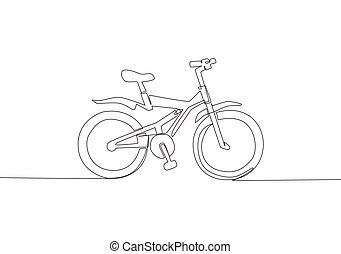 One continuous line drawing of modern and trendy bicycle kids logo. Fun bike concept. Single line draw design vector illustration