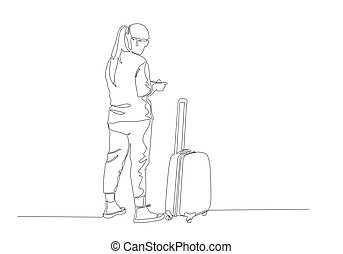 One continuous line drawing of standing traveler with baggage
