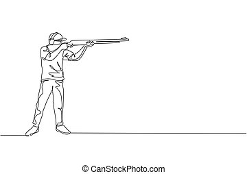 One continuous line drawing of young man on shooting training ground practice for competition with rifle shotgun. Outdoor shooting sport concept. Dynamic single line draw design vector illustration