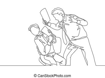 One continuous line drawing of young rage manager screaming on the face of his staff after the staff made fatal mistakes. Work problem concept single line draw design vector illustration