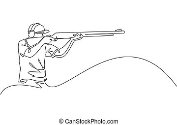 One continuous line drawing young man on shooting training ground practice for competition with rifle gun. Outdoor shooting sport concept. Dynamic single line draw graphic design vector illustration