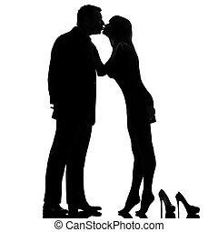 one couple kissing man and woman barefoot tiptoe - one...
