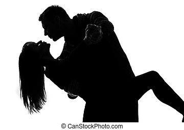 one couple lovers man and woman dancing tango