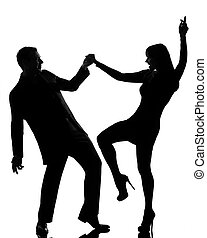 one couple man and woman dancing rock