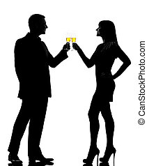 one couple man and woman drinking champagne partying...