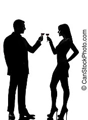 one couple man and woman drinking red wine toasting - one...