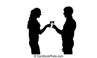 one  couple man and woman drinking wine. Slow motion