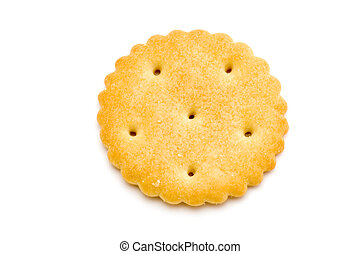 One cracker - object on white - food - cracker macro