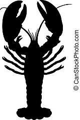 One crawfish. - Single vector silhouette of crawfish...